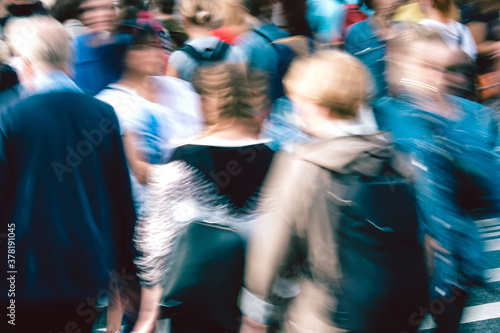 City bustle concept with blurry people close up Canvas Print