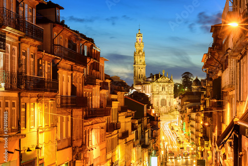 Fototapety, obrazy: Porto town with Dos Clerigos cathedral at night, Portugal