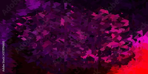 Dark purple, pink vector triangle mosaic wallpaper.