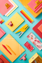 Set Of Colorful Office Supplies