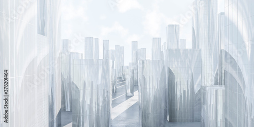 abstract big city sky scraper architecture background 3d render illustration