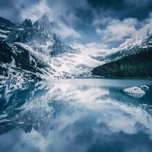 Scenic View Of Mountain Dito Di Dio Reflecting In Sorapiss Lake In Winter
