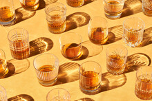 Shiny Glasses With Cold Whiskey