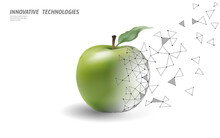 GMO Apple Gene Modified Plant. Science Chemistry Biology Genetics Engineering Innovation Organic Eco Food Technology 3D Render Geometric Background Template. Banner Vector Illustration