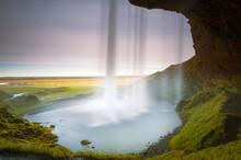 Interior View Of The Seljalandsfoss Waterfall In Long Exposure