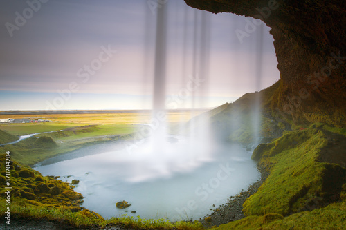 Fototapeta Interior view of the Seljalandsfoss Waterfall in long exposure