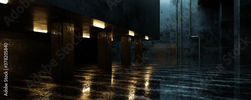 Canvas dark industrial grunge architecture 3d render illustration with concrete buildin