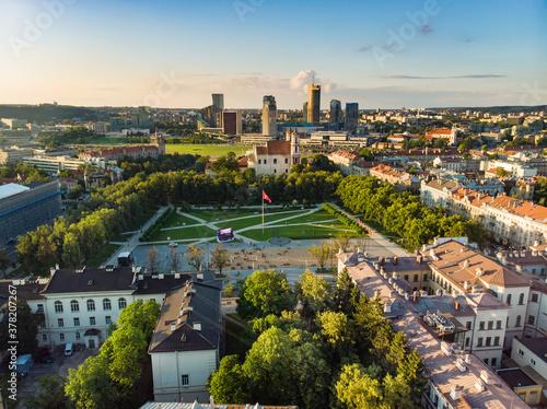 Fototapeta Aerial view of newly renovated Lukiskes square, Vilnius