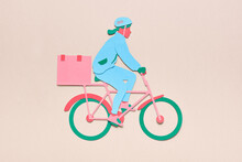 Courier On Bicycle Delivering ...