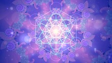 Glowing Sacred Geometric Symbol, Metatron Cube On Fractal Patterns Background