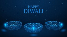 Happy Diwali. Diya Lamps Lit I...