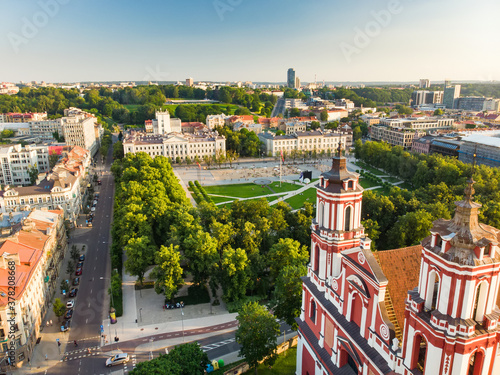 Fotografie, Obraz Aerial view of newly renovated Lukiskes square, Vilnius