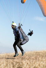 Paragliding Launching Of The Ground