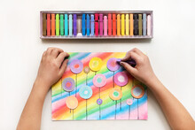 Child Drawing Abstract Flowers