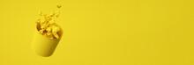 3d Render Of Monochrome Yellow...