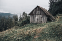 Gray Wooden House With Boards In The Carpathian Mountains. Yaremche. The Most Beautiful Places In Ukraine. Tall Spruce. Fog Over The Forest.