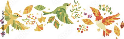 Fototapeta 秋の紅葉 落ち葉、木の実、小鳥フレーム obraz