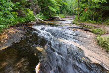 Waterfall By Chapel Beach In Pictured Rocks National Lakeshore In Michigan, USA