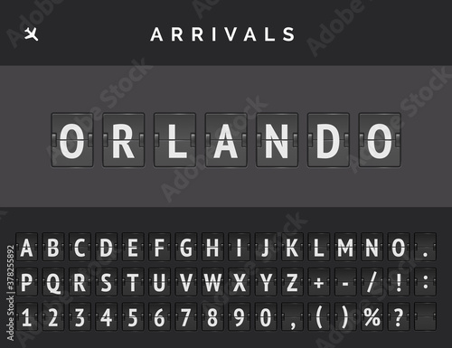 Photo Mechanical airport flip scoreboard font with flight info of arrival destination in USA Orlando with aircraft icon