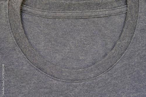 Billede på lærred Round neckline without collar of a plain cotton T-shirt for casual wear