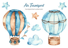 Watercolor Clipart Of Air Transport With Hot Air Balloons, Clouds And Stars