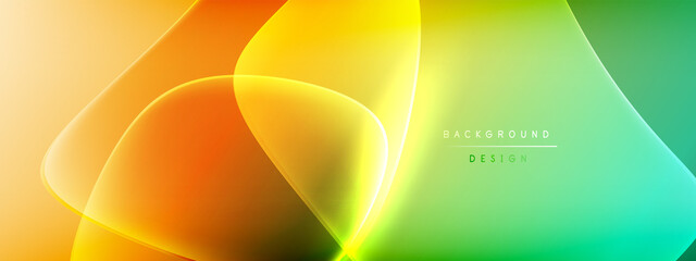 Fototapeta Boks Vector abstract background - liquid bubble shapes on fluid gradient with shadows and light effects. Shiny design template for text