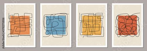 Fototapeta Trendy set of abstract aesthetic creative minimalist hand drawn composition obraz