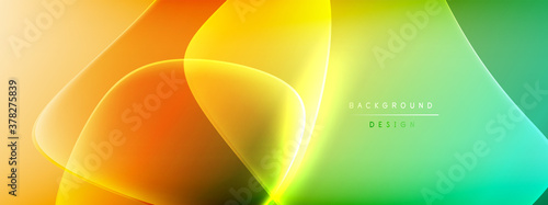 Vector abstract background - liquid bubble shapes on fluid gradient with shadows and light effects. Shiny design template for text