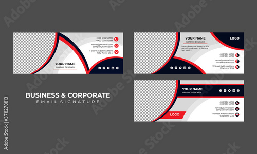 Fototapeta Email signature template design or email footer and personal social media cover obraz
