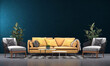 Leinwanddruck Bild - Modern cozy mock up of beautiful living room interior design and blue wall texture background and yellow sofa furniture