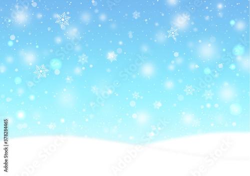 雪の結晶とふわふわの雪が降る雪原の風景 背景素材(水色) Tapéta, Fotótapéta