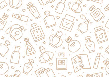 Perfume Bottles Seamless Pattern With Line Icons. Vector Background Illustration Included Icon As Glass Sprayer, Luxury Parfum Sampler, Essential Oil, Cologne Gold White Wallpaper For Cosmetic Store