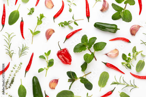 Fotografía Spice herbal leaves and chili pepper on white background