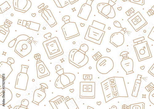 Fototapeta Perfume bottles seamless pattern with line icons. Vector background illustration included icon as glass sprayer, luxury parfum sampler, essential oil, cologne gold white wallpaper for cosmetic store obraz