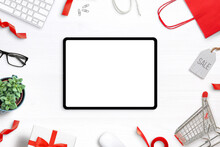 Tablet Mockup On White Desk Su...