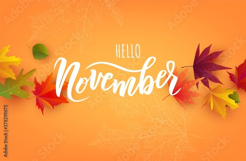 Fototapeta November word. Hand lettering typography with autumn leaves. Vector illustration as poster, postcard, greeting card, invitation template. Concept November advertising obraz