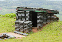 Sandbag Bunker Of The Military Base On Mountain