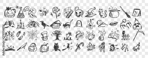 Halloween doodle set Slika na platnu