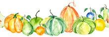 Watercolor Painting, Vintage Seamless Pattern - Tropical Fruits, Citrus, Slices Of Lemon, Orange, Mandarin, Pumpkin, Apricot, Peach, Apple, Plum, Cherry Plum. Splash Of Paint. Linear Border