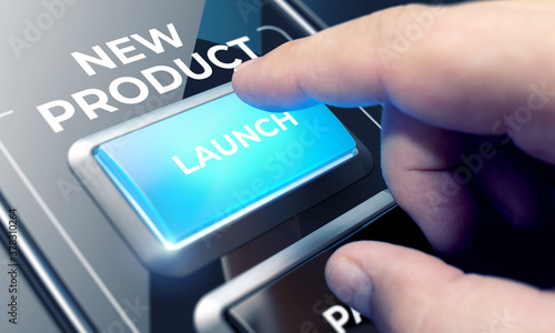 Finger About to Press a Glass Button with the Word New Product . Business Concept #378310264
