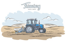 Hand Drawn Color Sketch With Tractor On Field.