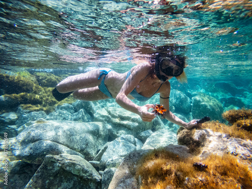 Fotografie, Obraz Girl snorkeling open a sea urchin to eat the roe