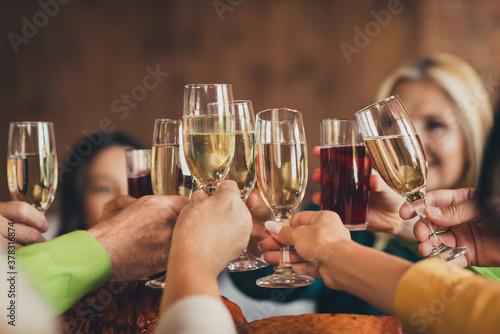 Fototapeta Full happy family clinking glasses thanks giving party garnished turkey dinner table house living room indoors obraz