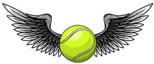 Realistic Tennis Ball With Raised Up White Wings Emblem Vector