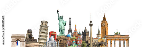 Obraz na plátně World landmarks and famous monuments collage isolated on panoramic white backgro