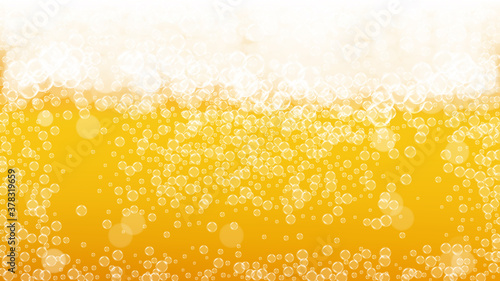 Photo Beer background. Craft lager splash. Oktoberfest foam.