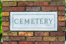 Cemetery Gate Pillar With Cemetery Engraved Into The Plaque.  Brick