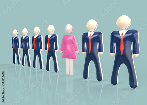 Fototapeta Female entrepreneur in pink dress standing in row of men in suits during work in business sphere obraz