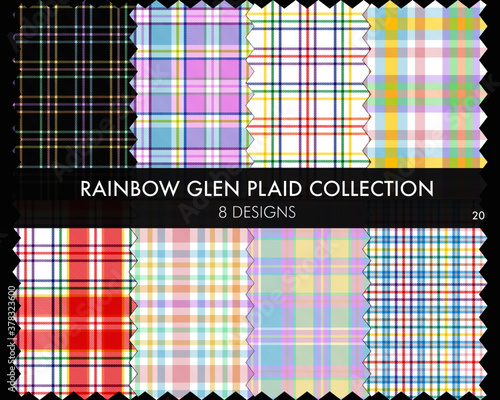 Rainbow Glen Plaid seamless pattern collection includes 8 designs for fashion te Poster Mural XXL