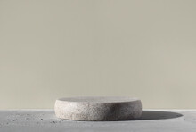 Monochrome Gray Template For Mockup, Banner. Flat Round Granite Pedestal On Textured Background. Stone Stand For Natural Design Concept. Horizontal Image, Center Composition, Hard Light, Front View